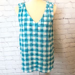 Alice Blue turquoise blue & white checker tank top